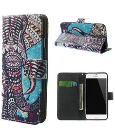 Apple iPhone 6 Wallet Stand Print Case - Tribal Elephant