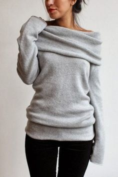 Adorable Grey Sweater and Black Pants