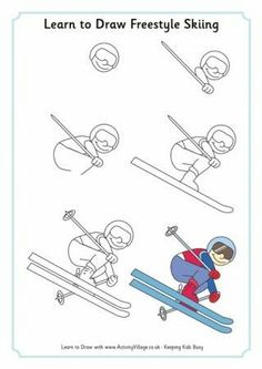 Learn to Draw Freestyle Skiing: Winter Olympic Crafts for Kids. Ice Skate Drawing, Ski Drawing, Drawing For Kids, Art For Kids, Olympic Crafts, Art Handouts, Freestyle Skiing, Winter Art Projects, Sports Art