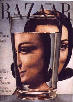 Henry Wolf, capa para Harper's Bazaar, 1959. Imagem, distorcida pela refracção da água, é típica das soluções visuais criativas de Wolf para problemas comuns. Um detalhe subtil: refracção também no logotipo.
