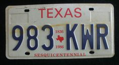 1986 Texas Sesquicentennial License Plate - 983KWR