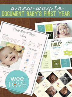 An easy way to create a run down of baby's first year at a glance and it's much more fun than your typical baby book!