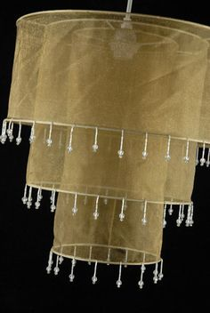 """Gold Silk 3 Tier Lanterns With Crystal Beads  15"""" Chandeliers  $14.29 each: Outdoor lighting option?"""