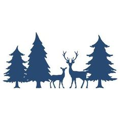 Silhouette Design Store: deer family in forest border