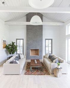 Modern Farmhouse Living Room - Gray Limewash Fireplace - Modern Fireplace Minimal Design - Scandinavian - Shiplap and White Painted Beams - Home Design - Six Penny Sofa Living Room Grey, Living Room Interior, Living Rooms, Family Rooms, Kids Rooms, Living Spaces, Modern Farmhouse, Farmhouse Decor, Farmhouse Design