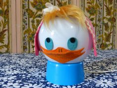 Lampe-canard-chaperon-rouge-deco-chambre-enfant-kitsch-vintage-annees-70 / Little red riding hood duck head table lamp - kitsch children nursery decor - French 70s vintage