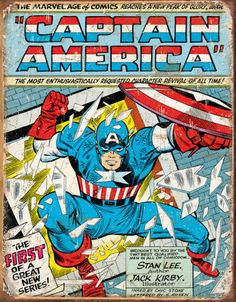Captain America Comic Cover Tin Sign Tin Sign at AllPosters.com