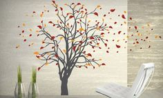 Large tree Nature vinyl wall tree decal Nursery wall decals vinyl wall stickers - Tree wall decal with cute birds