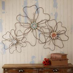Wire Flower Wall Plaque, $110.00