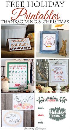 Free Holiday Printables Thanksgiving and Christmas