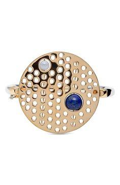 URiBE Semiprecious Stone & Perforated Disc Hinged Bracelet