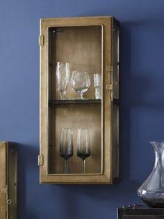 Small Antique Brass & Glass Shelf Cabinet 1