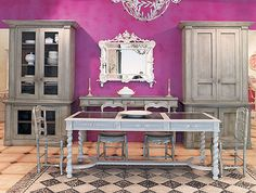 We love the statement made by this bright pink color in an otherwise monochrome room. Delicious!  www.Stoneside.com