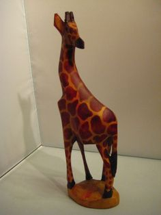 Vintage Hand Carved Wood Giraffe Made in Kenya by dtriece on Etsy, $27.00