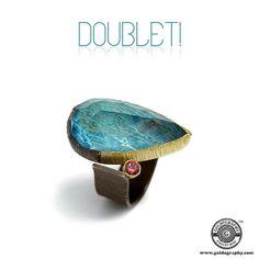Doublet! #MariaFrantzi #18K #YellowGold #Silver #Ring #Azurite #RockCrystal #Doublet #PinkTourmaline #Jewelry #Jewellery