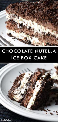This No-Bake Chocolate Nutella Icebox Cake is the ultimate treat with mascarpone whipped cream and Nutella whipped cream, layered with crushed chocolate graham crackers! #bellyfull #iceboxcake #chocolate #nutella #nobake #summerdessert