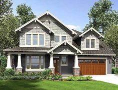 Plan 22199 - The Hood River Craftsman House Plans Craftsman Style House Plans, Cottage House Plans, Cottage Homes, House Floor Plans, Modern Craftsman, Craftsman Homes, Craftsman Exterior, Craftsman Bungalows, Artist Craftsman