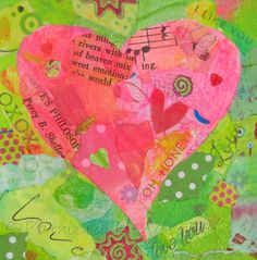 """LOVE Original Pink and Green Tiny Heart Paper Collage 4"""" X 4"""" X 1.5"""" on canvas Painted Paper, Hand Painted, Paper Collage Art, Tiny Heart, Paper Hearts, Art Journaling, Pink And Green, I Shop, How Are You Feeling"""