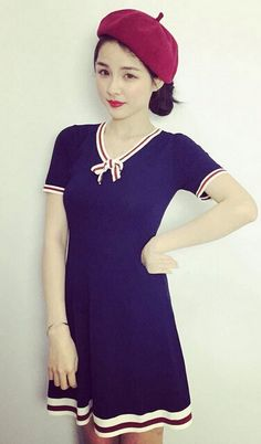 Navy Style dress, high quality!