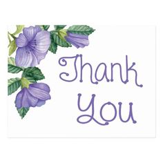 Shop Floral Watercolor Thank You Purple Flower Postcard created by LoveandSerenity. Thank You Quotes For Coworkers, Thank You Quotes For Helping, Thank You Quotes For Friends, Thank You Quotes Gratitude, Thank You Wishes, Thank You For Order, Thank You Greetings, Birthday Greetings, Birthday Wishes