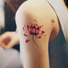 Stylish Lotus Pattern Waterproof Tattoo Sticker For Women