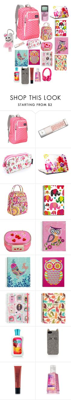 """School supplies"" by total-mess ❤ liked on Polyvore featuring JanSport, Swarovski, Vera Bradley, Retrò, COMPENDIUM, Kate Spade, philosophy and Beats by Dr. Dre"
