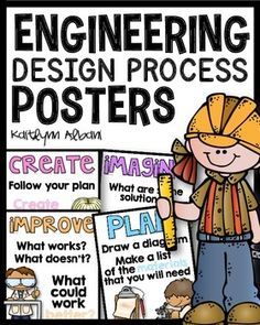 5 posters for the elementary engineering design process.These are great hanging in the classroom or for use during your STEM activities![Black header backgrounds + White header backgrounds included]Includes:ASKIMAGINEPLANCREATEIMPROVEDon't like this design?