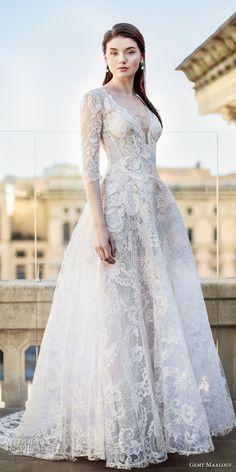 gemy maalouf 2017 bridal three quater sleeves deep plunging v neck full embellishment lace romantic elegant a line wedding dress open v back sweep train (w17 4787) mv #wedding #bridal #weddingdress