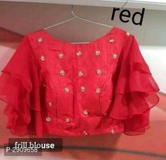 Red Engagement Blouse Beautiful Readymade Art Silk Wedding Stone Work Saree Stitched Crop Party Wear