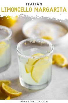 This sweet, sour, refreshing Limoncello Margarita is a Mexican classic with an Italian makeover! Made with no lemonade concentrate, just simple ingredients. Sangria Recipes, Drinks Alcohol Recipes, Margarita Recipes, Cocktail Recipes, Drink Recipes, Alcoholic Beverages, Cocktail Drinks, Mix Drinks, Punch Recipes