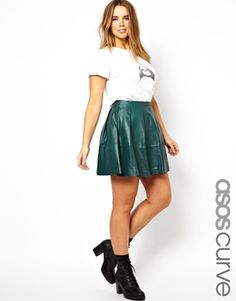 ASOS CURVE Exclusive Skater Skirt In Leather