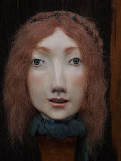 Art doll bust. paper clay and acrylics. cristina grueso.