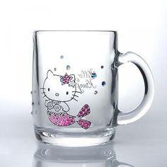 *Sanrio Hello Kitty x Crystal Scene Mug Glass Mermaid Swarovski Made in Japan