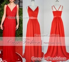 Straps Sexy  Vneck Chiffon Red Long Prom Dress by CassieFashion, $135.00