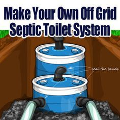 A small DIY septic system (The tank is much smaller than required and the design is missing some important items such as internal baffles and a qualified site assessment.) Living Off the Grid: Free Yourself Homestead Survival, Camping Survival, Survival Prepping, Emergency Preparedness, Survival Skills, Survival Shelter, Survival Gear, Survival Quotes, Wilderness Survival