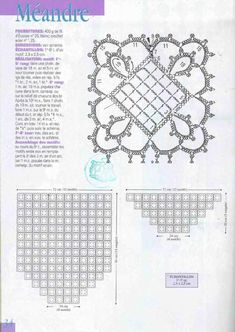 "Photo from album ""Crochet Creations Hors-serie 24 Rideaux"" on Yandex. Crochet Square Patterns, Crochet Borders, Crochet Diagram, Crochet Chart, Lace Patterns, Crochet Squares, Crochet Granny, Irish Crochet, Crochet Motif"