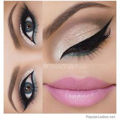 Silver and green eye makeup with pink lips ❤ liked on Polyvore featuring beauty products and makeup
