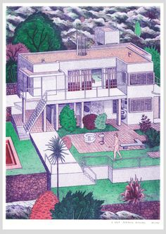 josephinritschel: Eileen Gray House with Le Corbusier. Get an riso print of it in my shop: mevameva. Eileen Gray, Le Corbusier, Art And Illustration, Architecture Drawings, Amazing Architecture, Illustrator, Grey Houses, Magnum Opus, Arte Popular