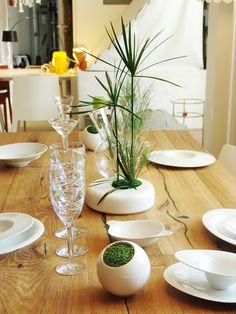 Design végétal, décoration de table, végétaux stabilisés. Création et réalisation Adventive. Interior plant Designer