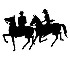 Cowboy/cowgirl on horses silhouette