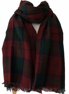 A ladies or men s large scarf wrap in a red and green Tartan fabric The scarf is woven in a classic twill weave from 100 pure cotton a soft and