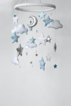 Moon Clouds and Stars Baby Mobile Silver Nursery Mobile Light Blue Nursery Decor Baby Boy Room Decor Shiny Mobile Shiny Star Nursery Decor - Kinderzimmer Blue Room Decor, Baby Boy Room Decor, Baby Room Art, Baby Room Design, Baby Boy Rooms, Baby Boy Nurseries, Baby Boys, Room Boys, Clouds Nursery