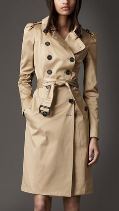 LONG STRETCH-SATIN TRENCH COAT