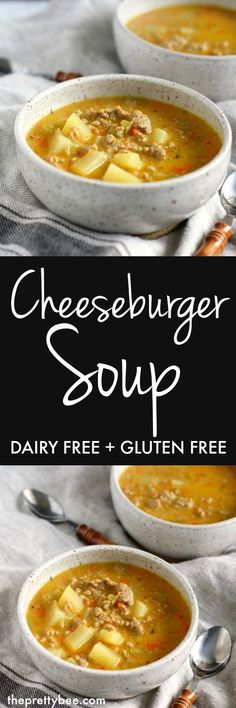Could You Eat Pizza With Sort Two Diabetic Issues? Cozy, Comforting Cheeseburger Soup Is Dairy Free, Gluten Free, And So Tasty Beef Recipes, Soup Recipes, Whole Food Recipes, Dinner Recipes, Cooking Recipes, Healthy Recipes, Dinner Ideas, Healthy Soups, Healthy Cooking
