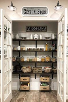 My Pantry GOALS! I love this farmhouse pantry with double doors! I have serious pantry envy going on! simple home diy Farmhouse Kitchen Ideas For a Country Kitchen Remodel on a Budget (PICTURES for Kitchen Pantry Design, Kitchen On A Budget, Kitchen Styling, New Kitchen, Kitchen Dining, Kitchen With Pantry, Farm House Kitchen Ideas, Diy Kitchen Ideas, Kitchen Pantries