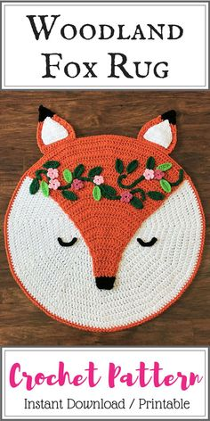 Crochet Fox Rug Pattern - Woodland Fox Rug Pattern - Crochet Nursery Rug - Nursery Mat - Crochet Patterns by Deborah O'Leary  #crochetpattern #crochetrug #affiliate #nurserydecor  #woodlandanimals #etsy #instantdownload