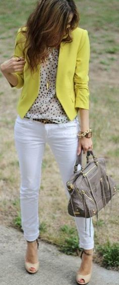 white jeans, leopard belt, printed top, colorful blazer : 44 Styles
