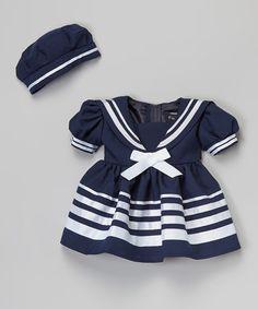 Look what I found on #zulily! Navy Blue Bow Sailor Dress & Beret - Infant, Toddler & Girls #zulilyfinds