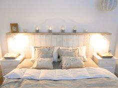 driftwood - bedroom - headboard - seawashed - white - long island - hamptons - vintage - shabby chic - design: www.carde.de
