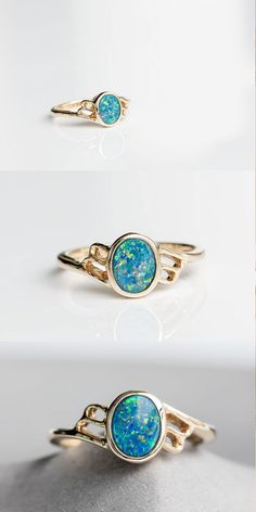 Rainbow Oval Natural Australian Doublet Black Opal Ring in 14K Yellow Gold Size 7 with Beautiful Play of Color. Free Jewelry Box! Natural Australian Doublet Opal, 0.67 ct. Every Opal piece is Unique. | eBay!